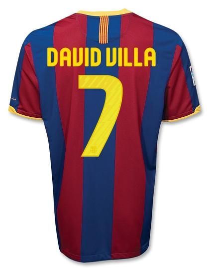 David Villa Barcelona Home Jersey