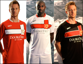 New MK Dons Kit 11-12 Home Away Third