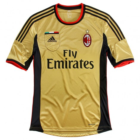 New AC Milan Third Kit 2013-2014- Adidas Gold Milan Jersey 13-14
