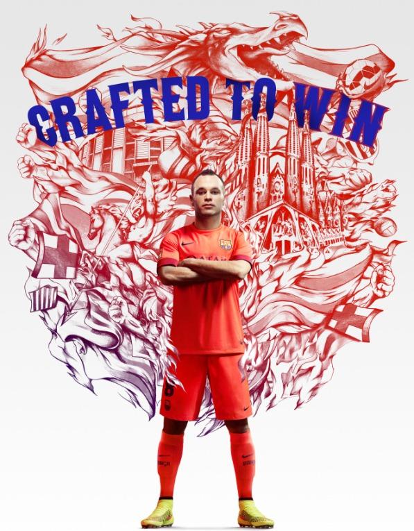 Barcelona Away Kit 2014-15 Nike New Crimson Orange Barca Jersey 14/15