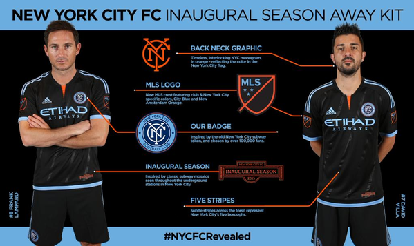 Black New York City FC New Away Kit 2015- Adidas NYCFC Away Jersey 2015