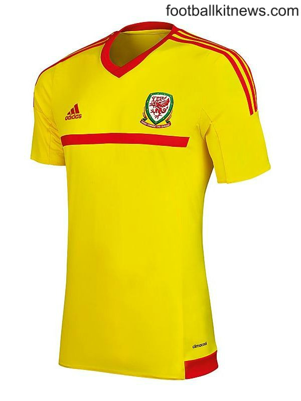 Yellow Wales Jersey 2015- Adidas New Welsh Away Football Kit 2015