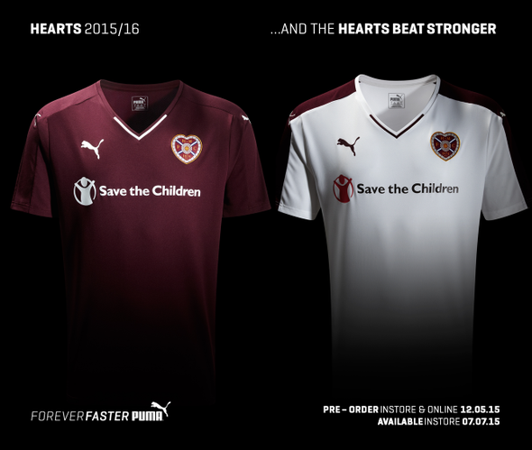 New Hearts Strip 15-16 Heart of Midlothian Puma Kits 2015-2016