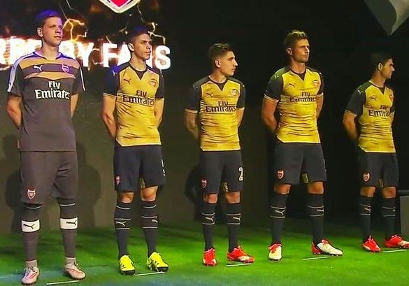 Official- Gold Arsenal Away Jersey 2015-2016- Arsenal Away Kit 15-16 Puma