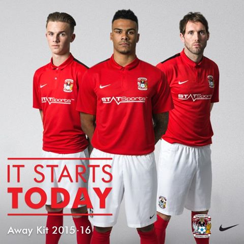 Red Coventry Kit 2015-16 Coventry City FC Away Shirt 15-16 Nike