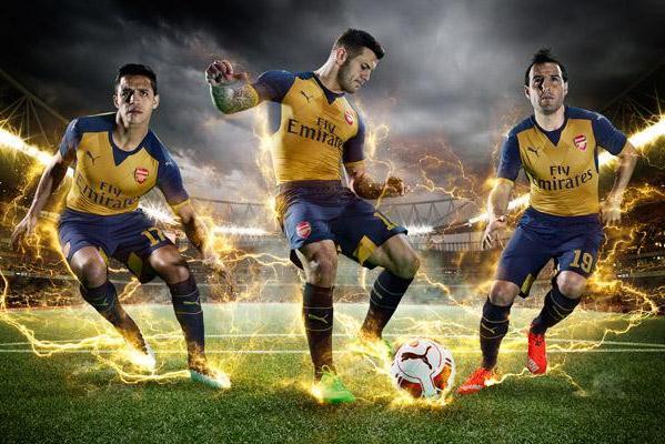 Yellow Arsenal Away Kit 2015 16