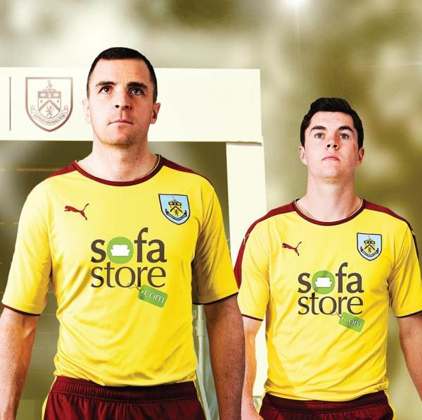Yellow Burnley Away Kit 15/16- Puma Burnley FC Alternate Shirt 2015-16