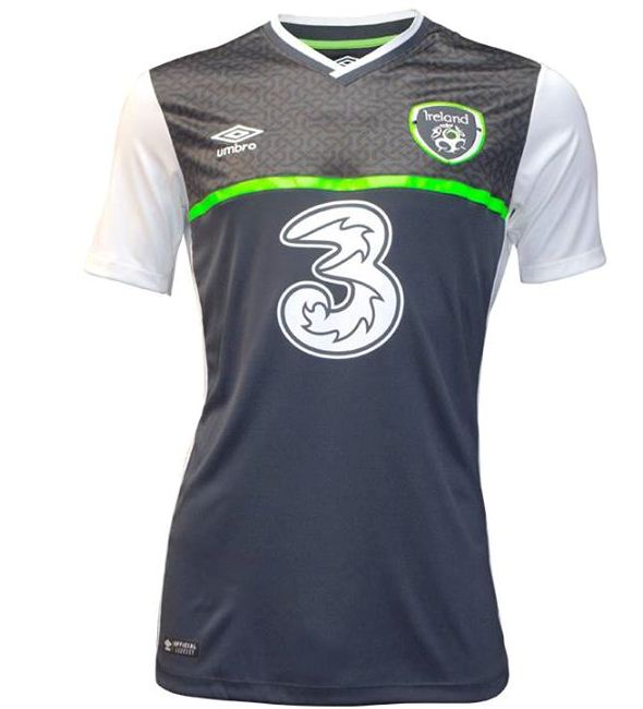 Grey Ireland Away Soccer Jersey 2016- Umbro Republic of Ireland Alternate Kit 2015-16