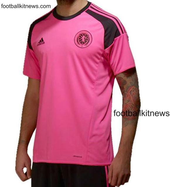 New Scotland Strip 2016- Pink Scotland Away Football Top 2016-17 Adidas