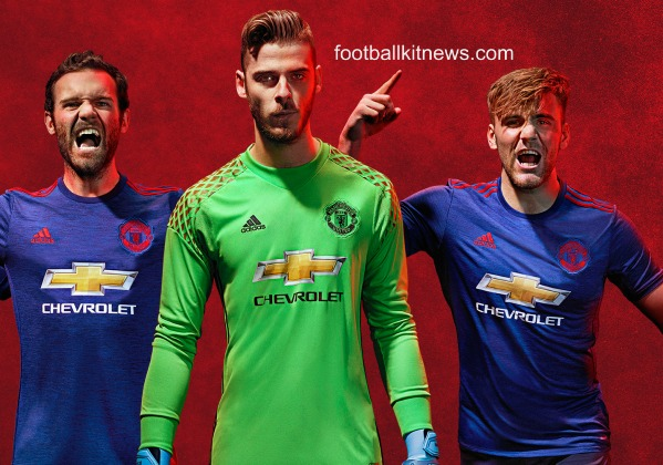 New Manchester United Away Kit 2016-17 | Blue Man Utd Alternate Jersey 16-17