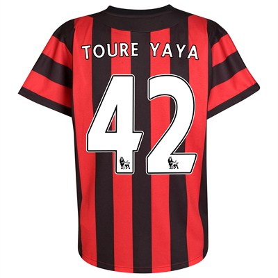 Red and Black Man City Away Jersey Yaya Toure