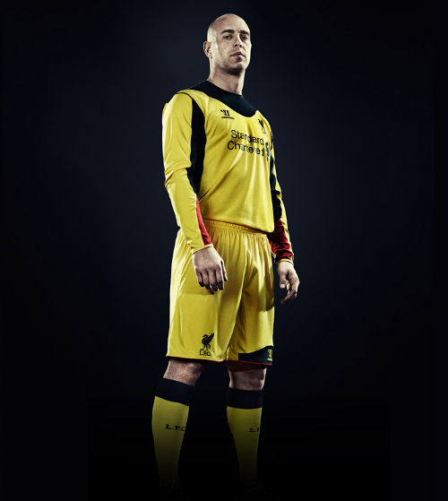 Yellow Liverpool Goalkeeper Kit 2013