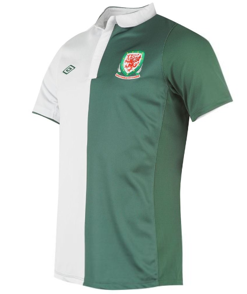 014f7b3f366 New Wales Away Kit 2012 13- Umbro Green White Welsh Away Jersey 12 ...