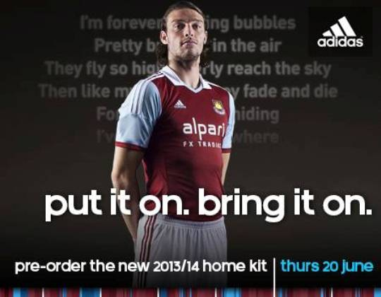 Andy Carroll West Ham Home Kit 2013 14
