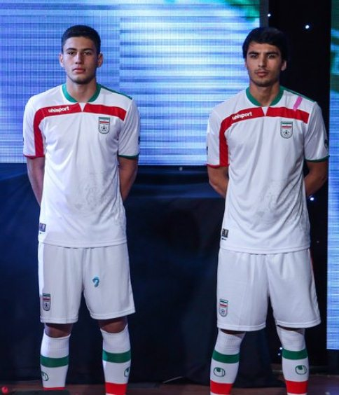 arrives 28b7c b866b New Iran 2014 World Cup Kits- Uhlsport Iranian Home and Away ...