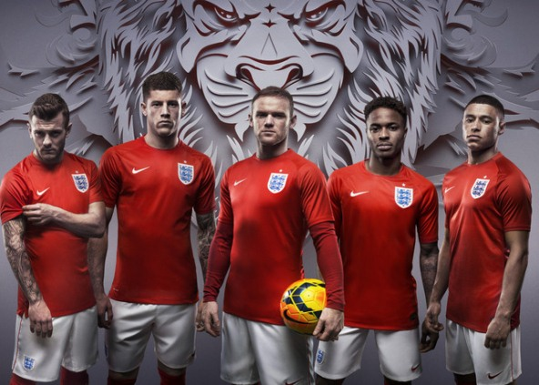 Red England World Cup Shirt 2014