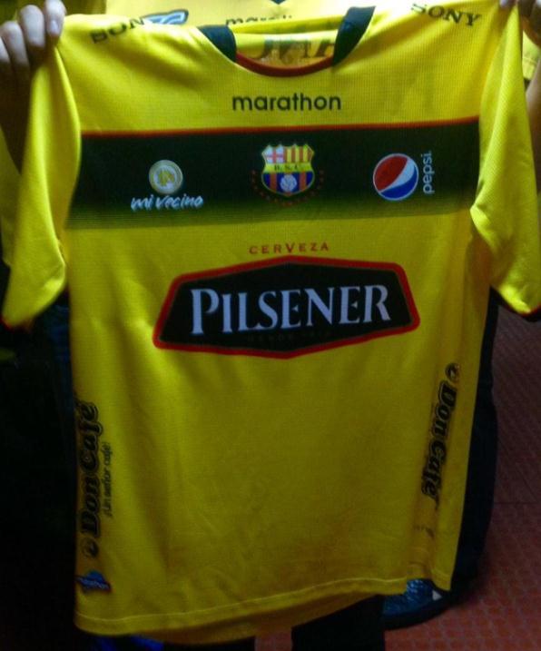 promo code a0e24 1b91c New Barcelona SC Jersey 2015- BSC Ecuador Marathon Home ...
