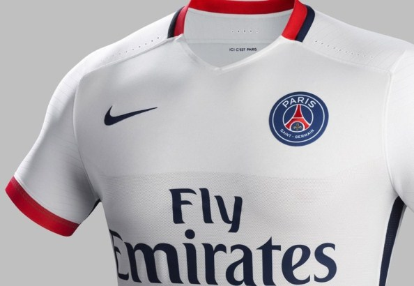 White PSG Away Kit 2015 2016 by Nike  6982480a3