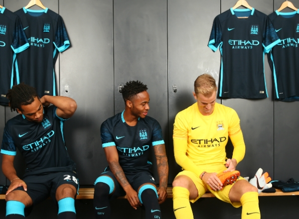 Raheem Sterling Man City Away Kit 2015 16