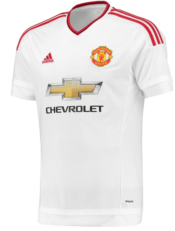 107206fe2 New Manchester United Away Kit 15 16- White MUFC Jersey 2015-2016 ...