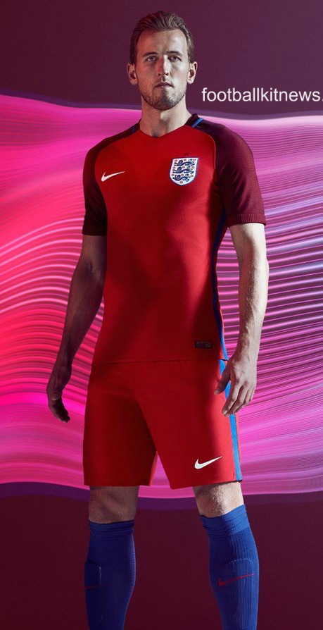 Red England Away Football Shirt Euro 2016