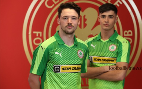 New Cliftonville FC Away Kit 2016/17- Green Cliftonville Alternate Jersey by Puma