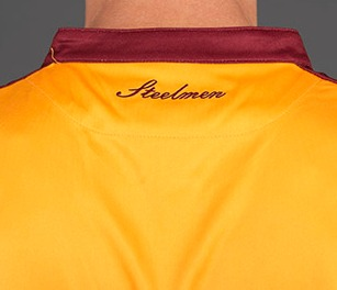 Steelmen Words on back of Motherwell Shirt