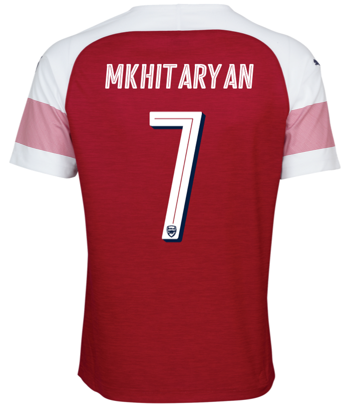 Arsenal Font on back of Arsenal Shirt