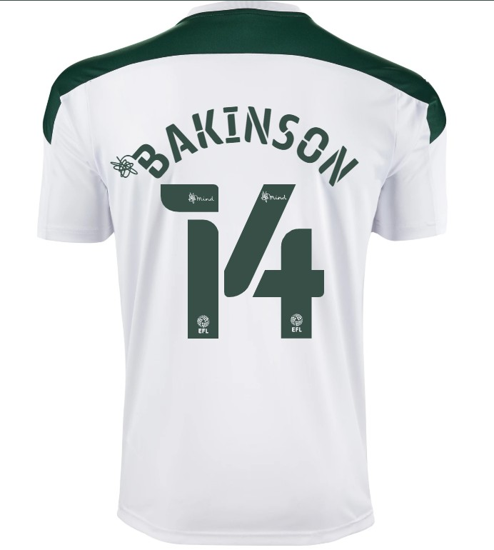 Back of new Plymouth Argyle Away Shirt 20-21