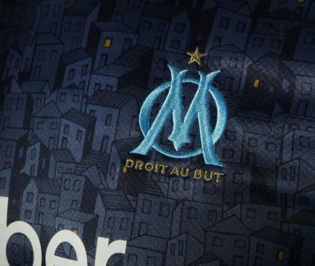 Closeup of Marseille Away Shirt Detailing Homes 20-21