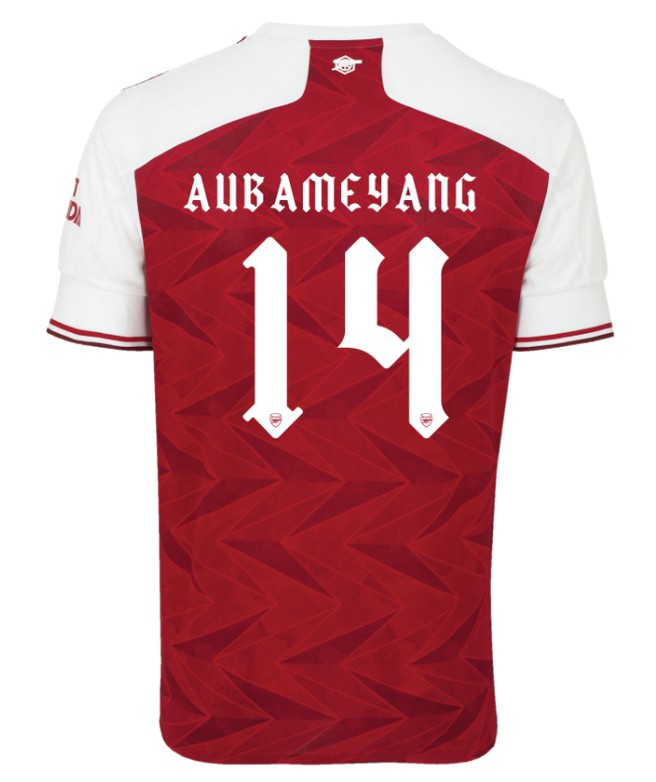 Arsenal Font on Back of Arsenal Shirt 2020-21
