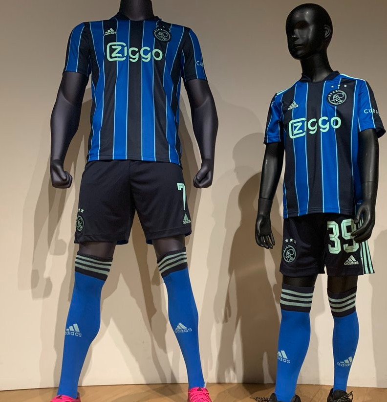 New Blue Ajax Jersey 2021-2022 | Ajax Away Kit With Stripes 21-22 ...