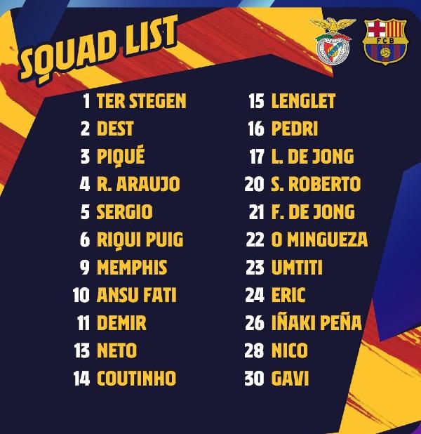 Barca Squad vs Benfica 2021