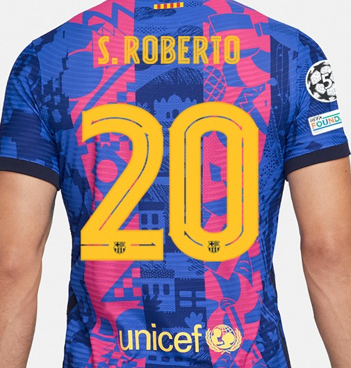 Numbers and Letters on Barcelona Third Shirt 2021 22