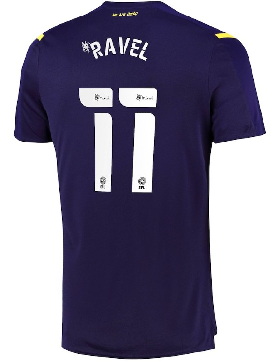 Shirt Number and Colour on back of Derby County Third Kit 2021-22