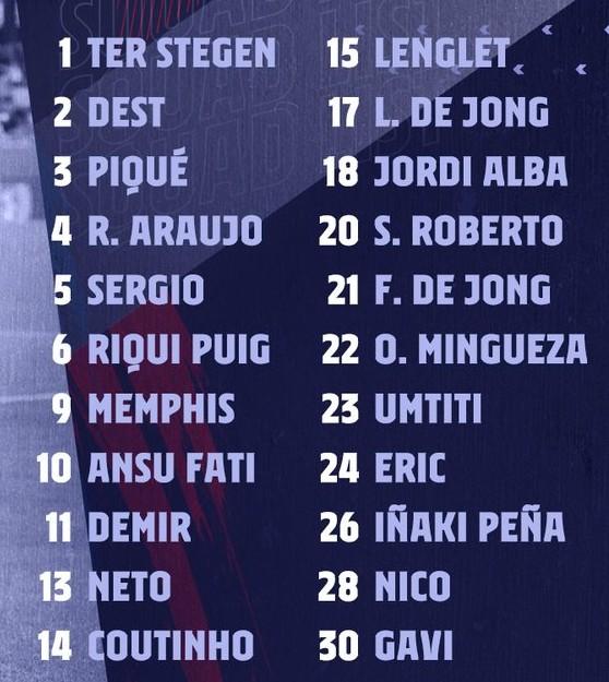 Barca squad vs Atleti 2021